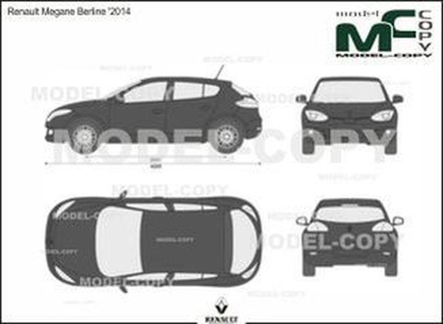 Renault Megane Berline '2014 - 2D drawing (blueprints)
