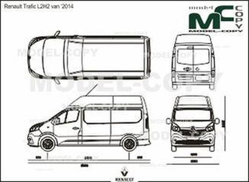 Renault Trafic L2H2 van '2014 - 2D drawing (blueprints)