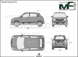 Renault Twingo '2014 - 2D drawing (blueprints)