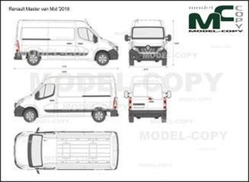 Renault Master van Mid '2018 - 2D drawing (blueprints)