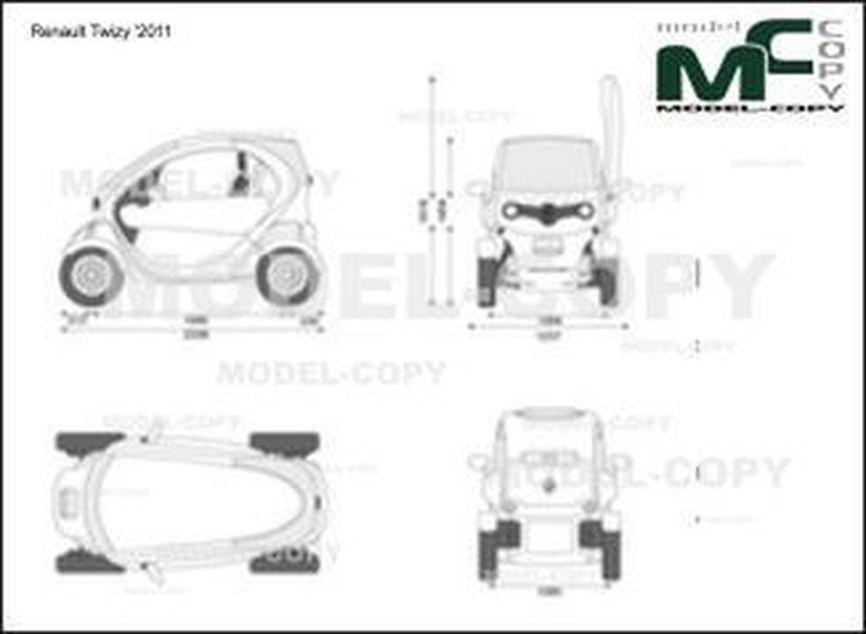 Renault Twizy '2011 - 2D drawing (blueprints)