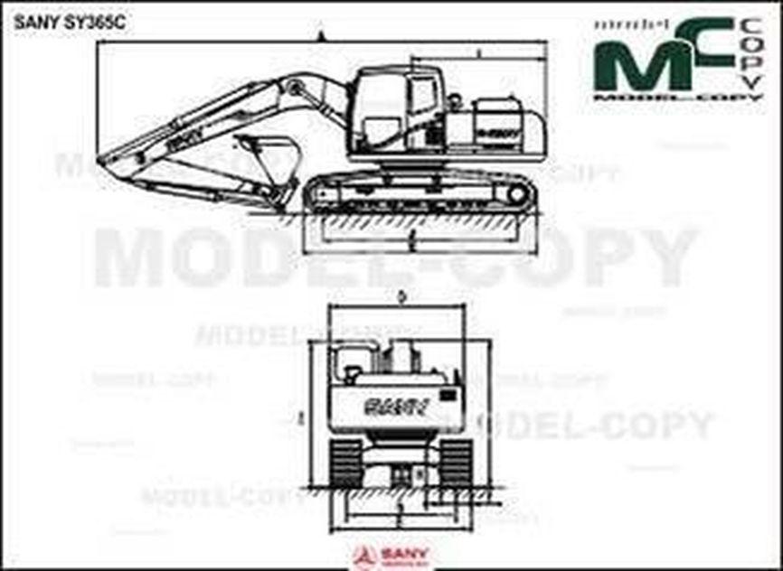 SANY SY365C - 2D drawing (blueprints)