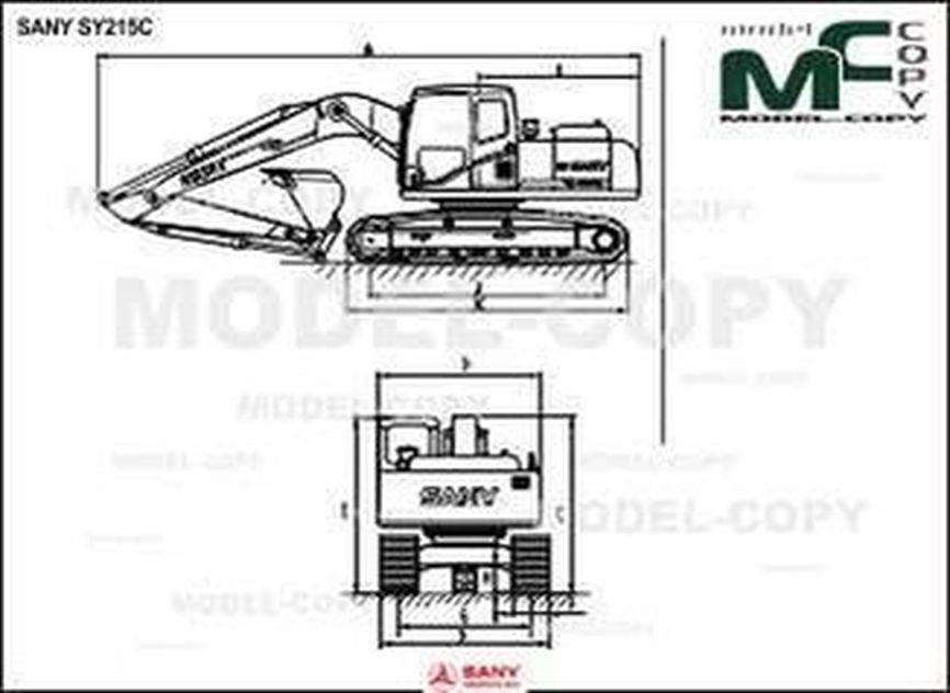 SANY SY215C - 2D drawing (blueprints)