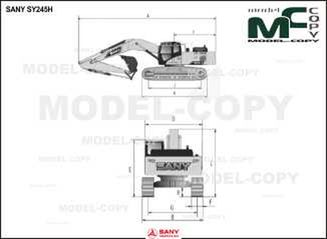 SANY SY245H - 2D drawing (blueprints)