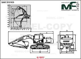 SANY SY215C9 - 2D drawing (blueprints)