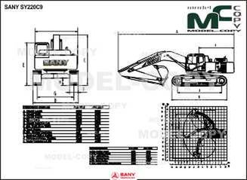 SANY SY220C9 - 2D drawing (blueprints)