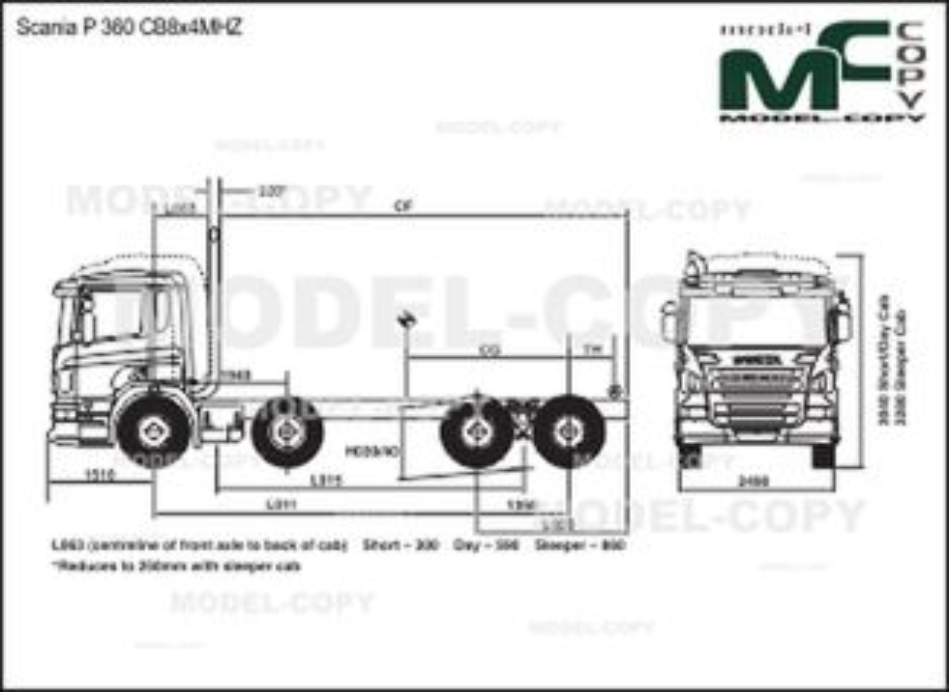 Scania P 360 CB8x4MHZ - drawing