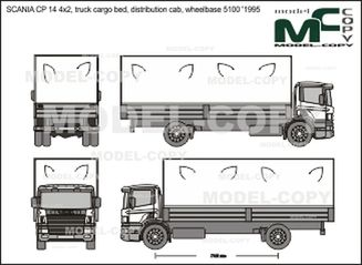SCANIA CP 14 4x2, truck cargo bed, distribution cab, wheelbase 5100 '1995 - 2D drawing (blueprints)