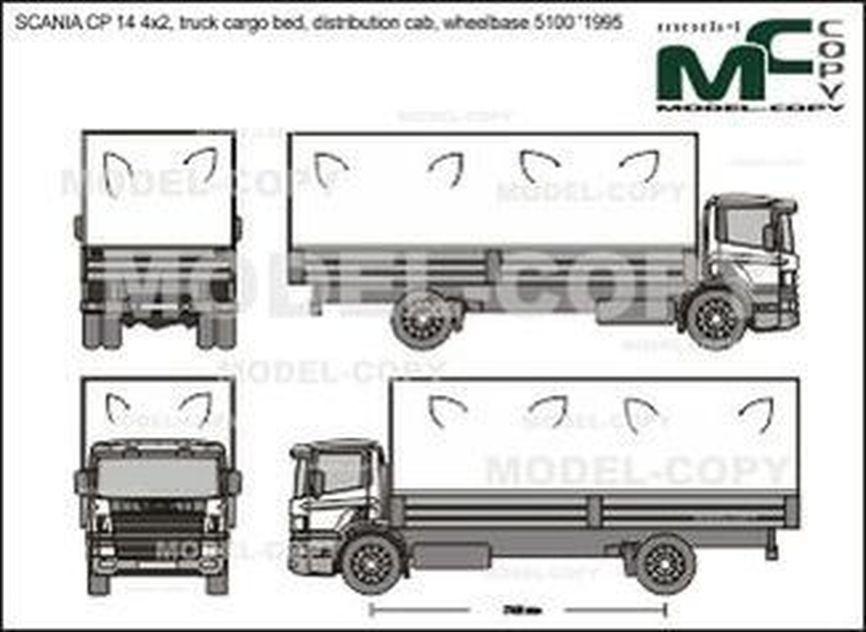 SCANIA CP 14 4x2, truck cargo bed, distribution cab, wheelbase 5100 '1995 - Rysunek 2D