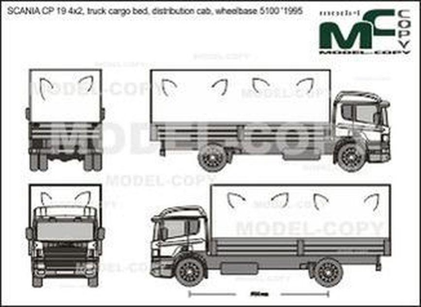 SCANIA CP 19 4x2, truck cargo bed, distribution cab, wheelbase 5100 '1995 - Desenho 2D