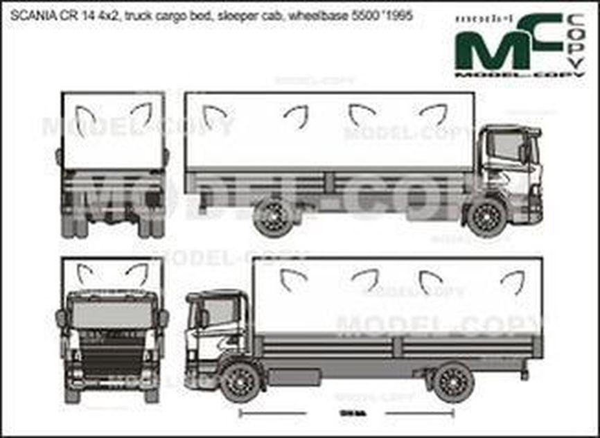 SCANIA CR 14 4x2, truck cargo bed, sleeper cab, wheelbase 5500 '1995 - 2D tekening
