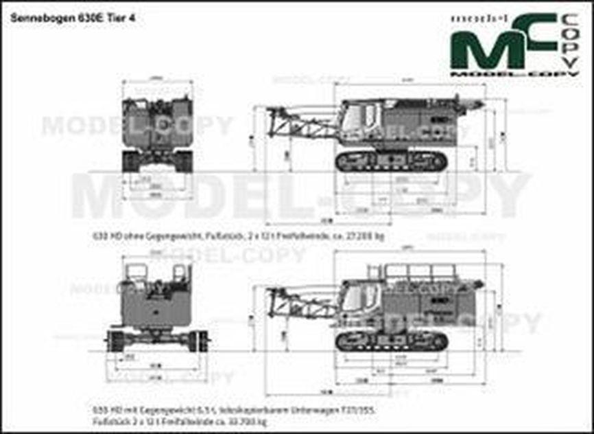 Sennebogen 630E Tier 4 - 2D drawing (blueprints)