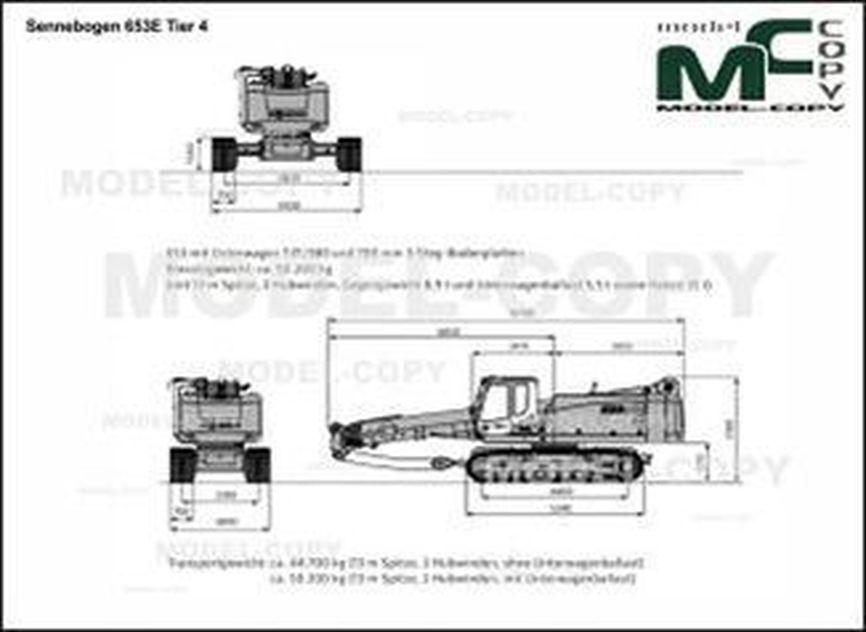 Sennebogen 653E Tier 4 - 2D drawing (blueprints)