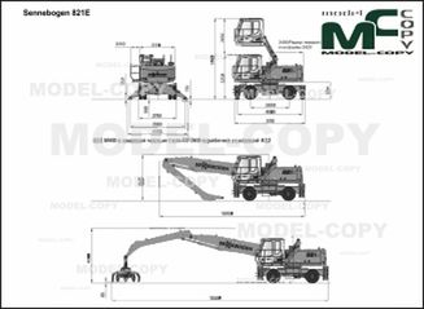 Sennebogen 821E - 2D drawing (blueprints)