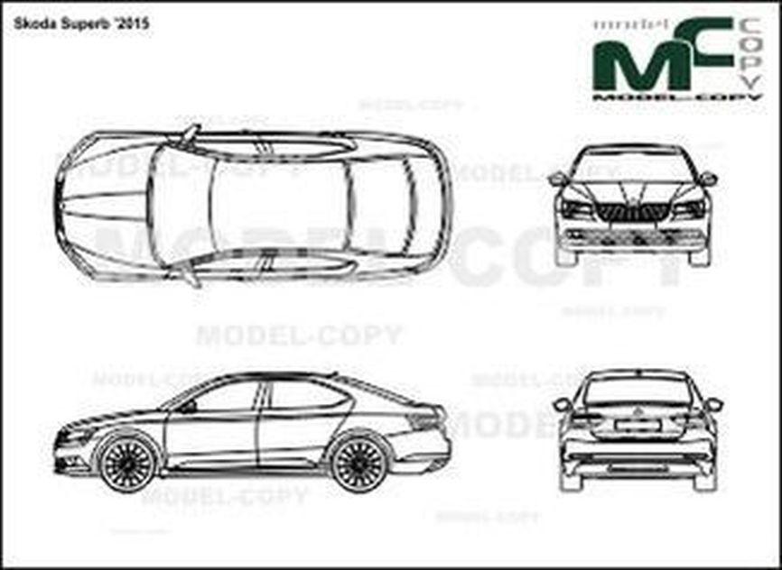 Skoda Superb '2015 - 2D drawing (blueprints)