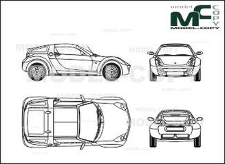 Smart Roadster-Coupe (with Hardtop) - 2D drawing (blueprints)