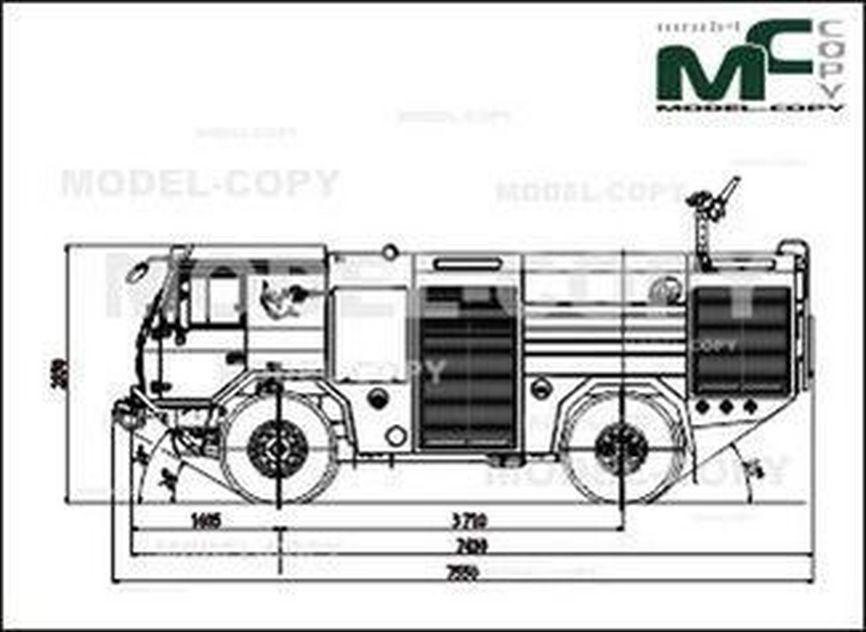 TATRA T 815-721R52 18 280 4×4 1 FIRE TRUCK CHASSIS-CAB - drawing