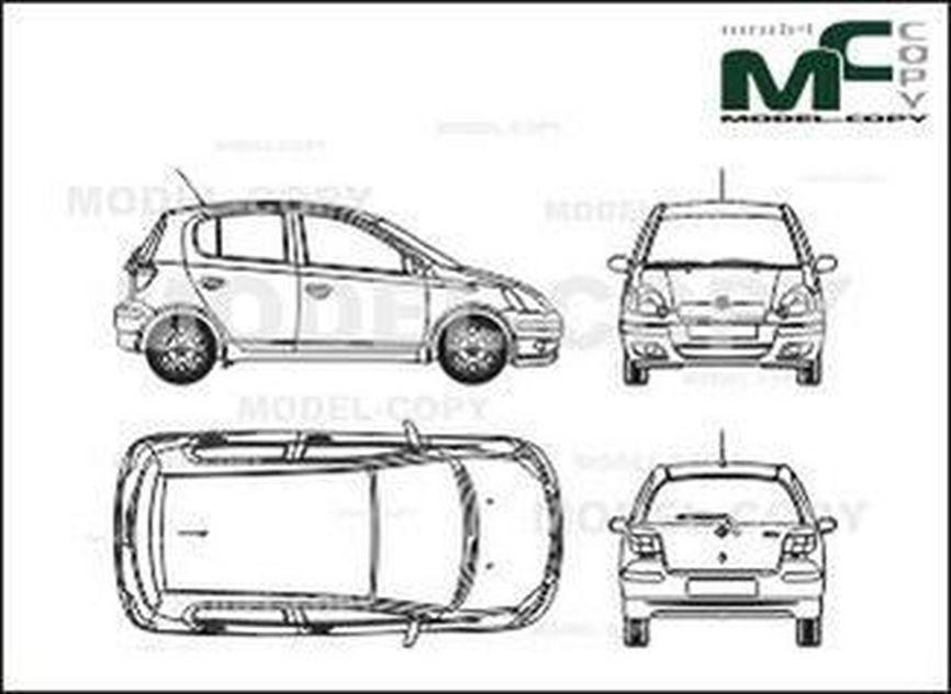Toyota Yaris 5-doors (2003) - drawing
