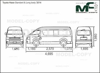 Toyota Hiace Standard & Long body '2014 - 2D drawing (blueprints)