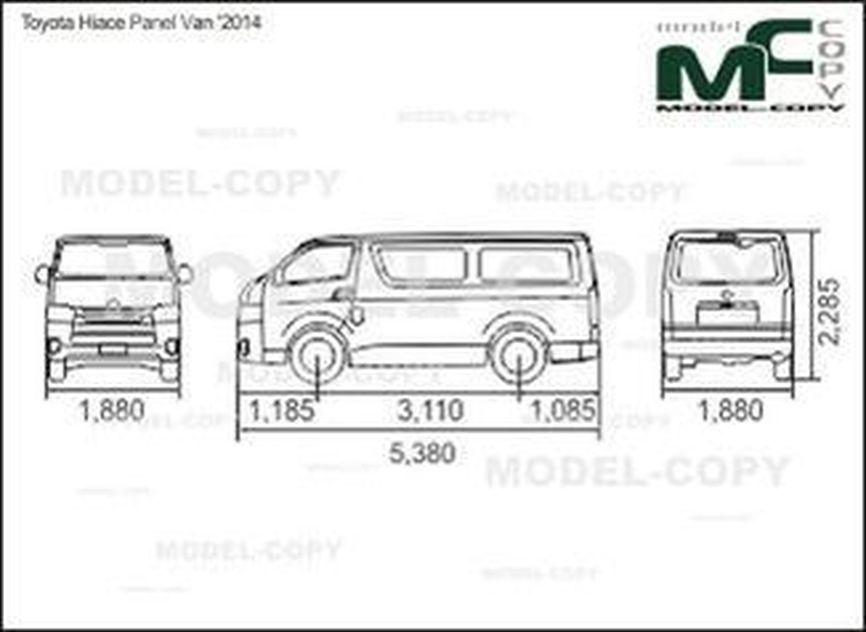 Toyota Hiace Panel Van '2014 - 2D drawing (blueprints)