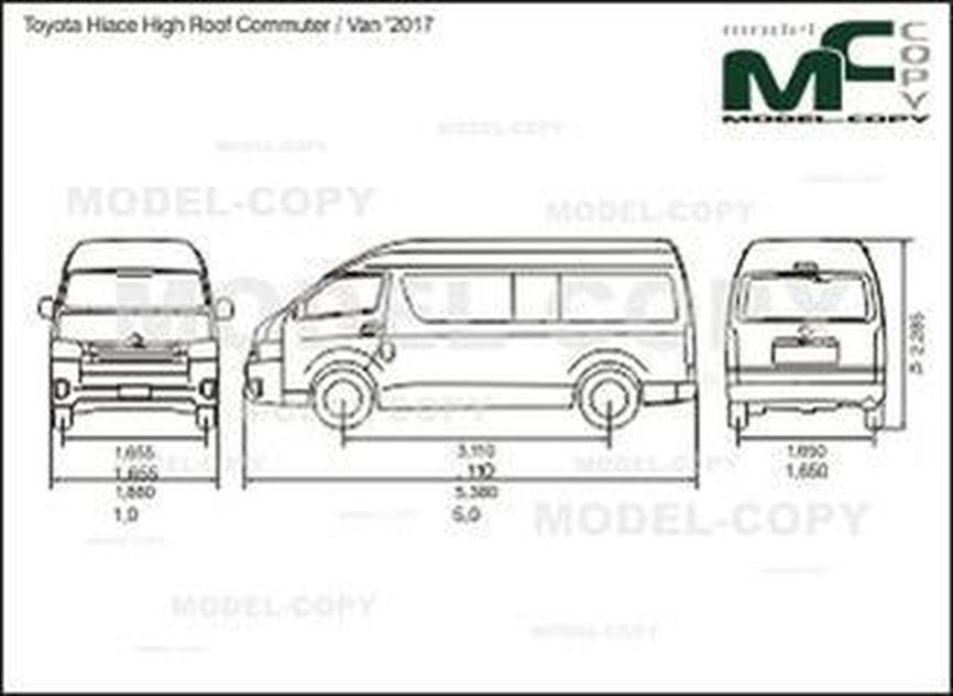 Toyota Hiace High Roof Commuter / Van '2017 - 2D drawing (blueprints)