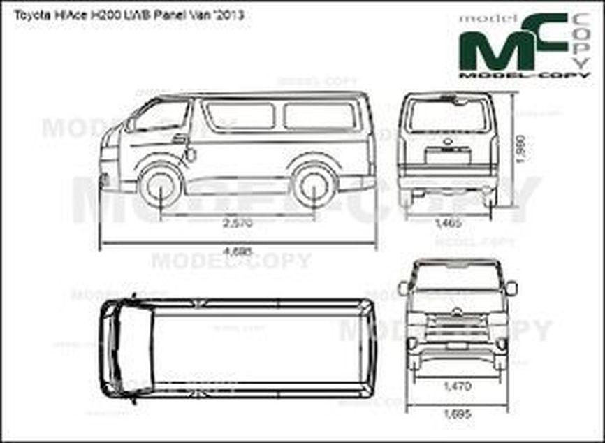 Toyota HiAce H200 LWB Panel Van '2013 - 2D drawing (blueprints)
