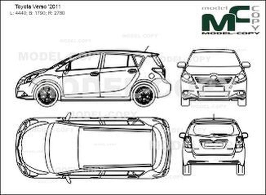 Toyota Verso '2011 - 2D drawing (blueprints)