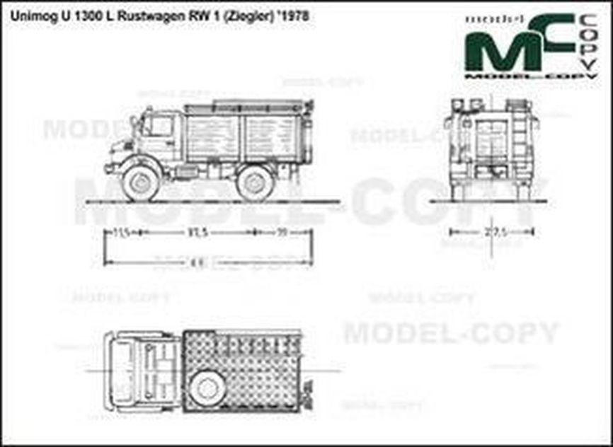 Unimog U 1300 L Rustwagen RW 1 (Ziegler) '1978 - 2D drawing (blueprints)