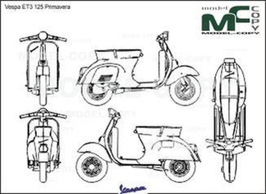 Vespa ET3 125 Primavera - 2D drawing (blueprints)