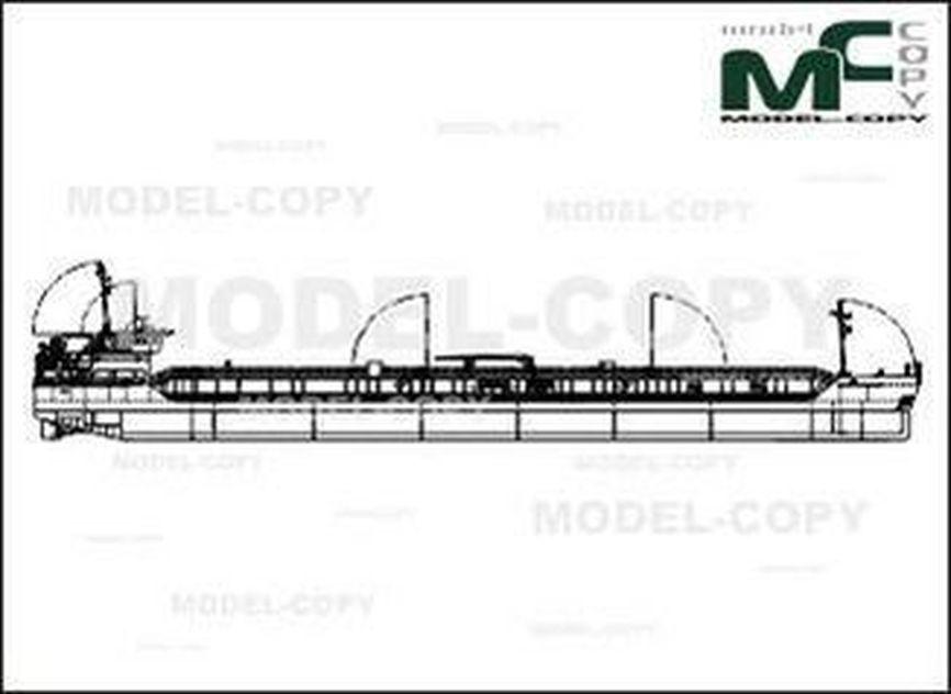 Chemical tanker with deadweight of 7,100 tonnes (Volga-Caspian Design Bureau) - 2D drawing (blueprints)