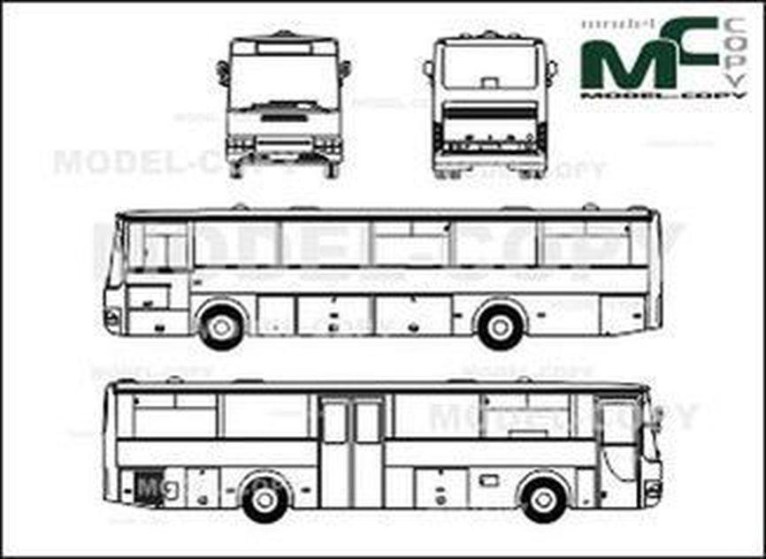 Volvo B 10 B overland bus - 2D drawing (blueprints)
