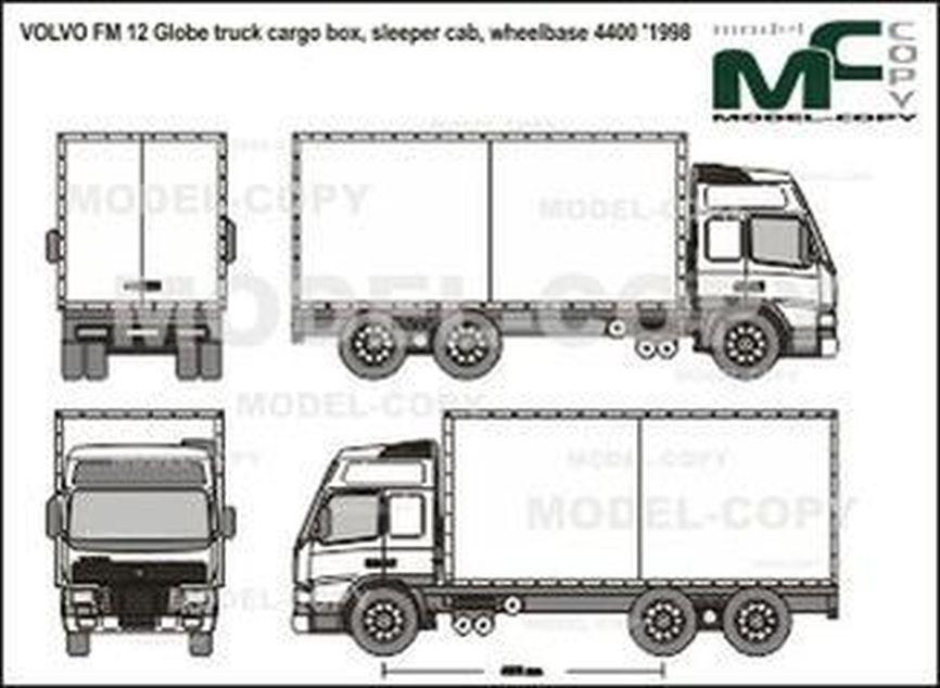 VOLVO FM 12 Globe truck cargo box, sleeper cab, wheelbase 4400 '1998 - 2D drawing (blueprints)