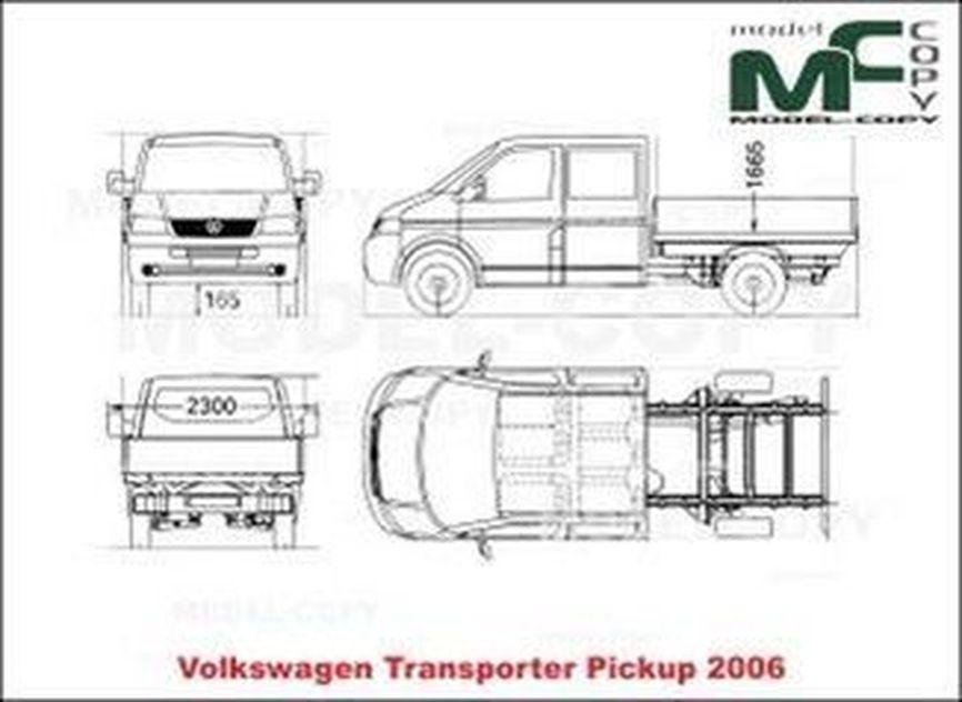Volkswagen Transporter Pickup (2006) - 2D drawing (blueprints)