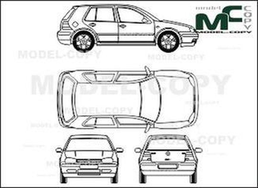 Volkswagen Golf IV 4-doors - 2D drawing (blueprints)