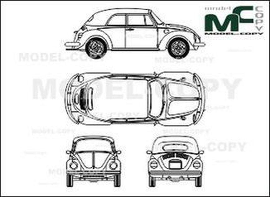 """Volkswagen Kaefer Cabriolet (79 - """"82) - 2D drawing (blueprints)"""