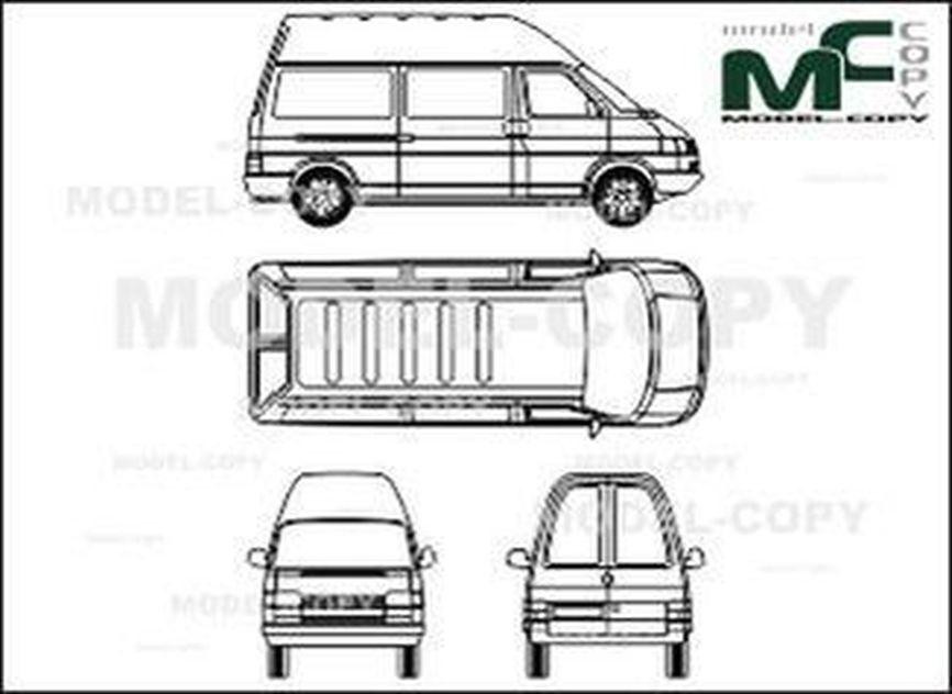 Volkswagen Transporter type 4, normal high space-box car, wheelbase long - drawing