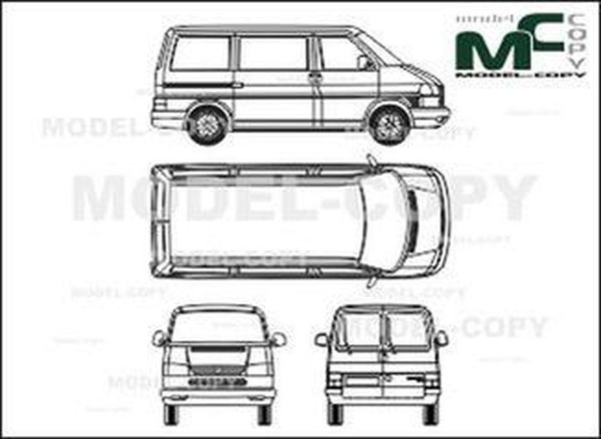 Volkswagen Caravelle Сombi, type 4, Rear double doors, 2 sliding doors, short - drawing