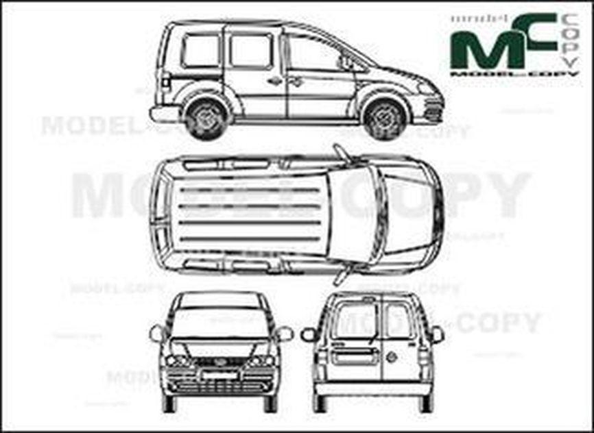Volkswagen Caddy Сombi, 1 sliding door, Rear double doors (2004) - 2D drawing (blueprints)