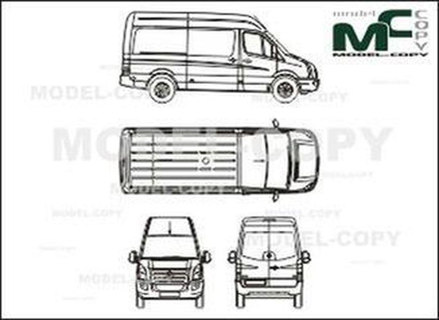 Volkswagen Crafter 30/35 box, medium, high roof, 1-sliding door (2006) - 2D drawing (blueprints)