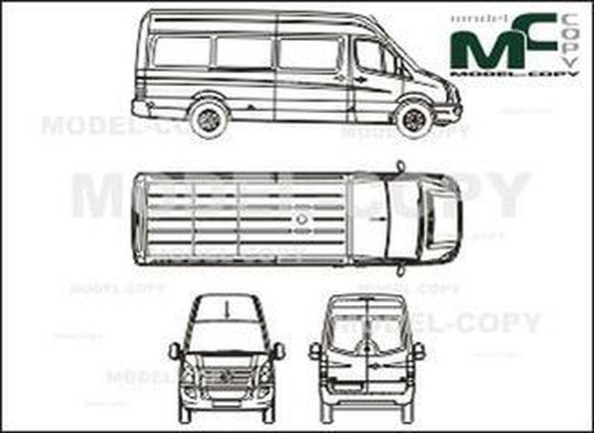 Volkswagen Crafter 35 Сombi, long, high roof, 1-sliding door (2006) - 2D drawing (blueprints)