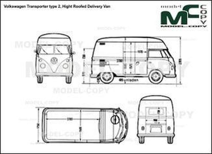 Volkswagen Transporter type 2, Hight Roofed Delivery Van - 2D drawing (blueprints)