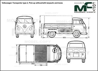 Volkswagen Transporter type 2, Pick-up without/with larpaulin and bows - 2D drawing (blueprints)