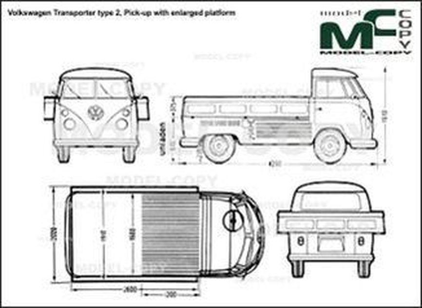 Volkswagen Transporter type 2, Pick-up with enlarged platform - 2D drawing (blueprints)
