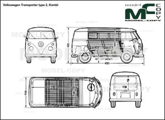 Volkswagen Transporter type 2, Kombi - 2D drawing (blueprints)