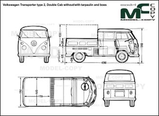 Volkswagen Transporter type 2, Double Cab without/with tarpaulin and boes - 2D drawing (blueprints)