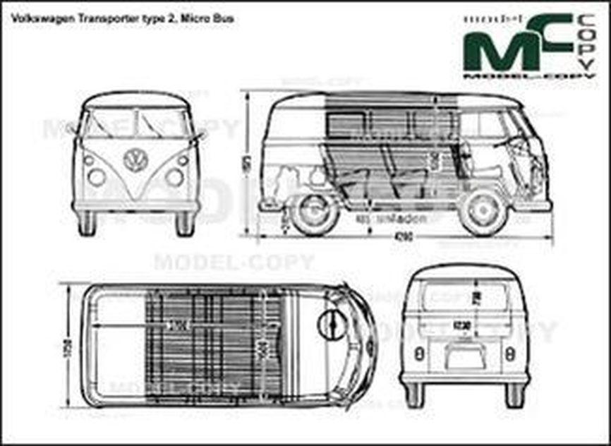 Volkswagen Transporter type 2, Micro Bus - 2D drawing (blueprints)