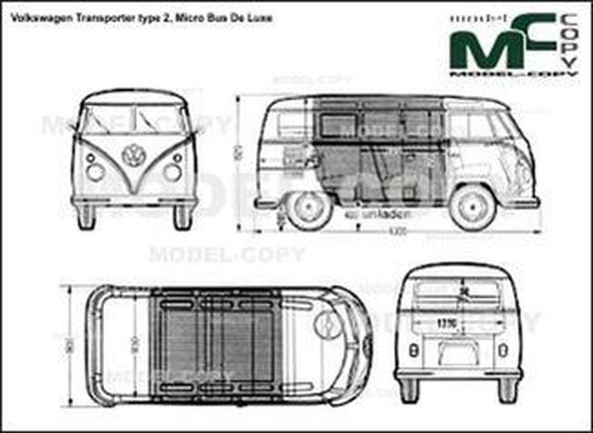 Volkswagen Transporter type 2, Micro Bus De Luxe - 2D drawing (blueprints)
