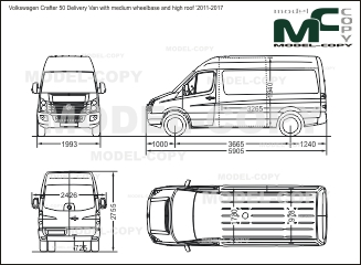 Volkswagen Crafter 50 Delivery Van with medium wheelbase and high roof '2011-2017 - kreslenie