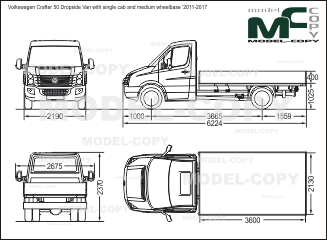 Volkswagen Crafter 50 Dropside Van with single cab and medium wheelbase '2011-2017 - disegno