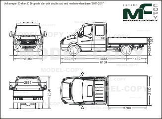 Volkswagen Crafter 50 Dropside Van with double cab and medium wheelbase '2011-2017 - drawing